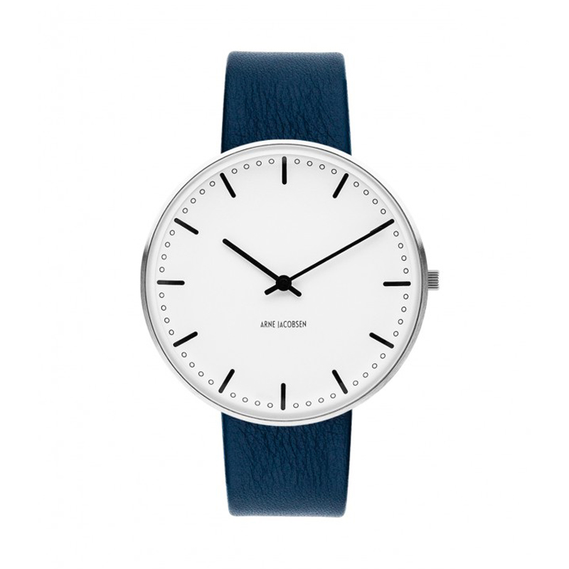 Image of   Arne Jacobsen City Hall Watch Ø40mm unisexur, med mørkeblå rem
