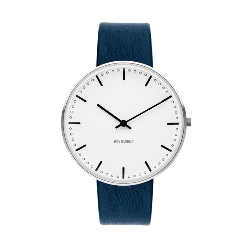 Arne Jacobsen City Hall Watch Ø40mm unisexur, med mørkeblå rem