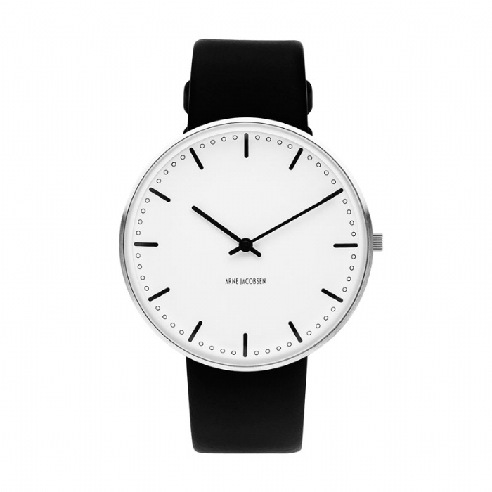Image of   Arne Jacobsen City Hall Watch unisexur, ø40 mm med sort rem