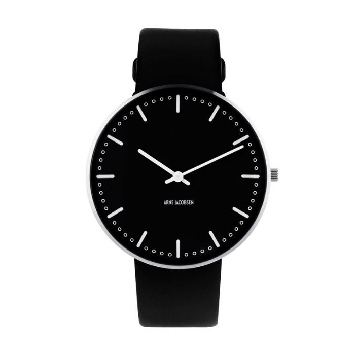 Image of Arne Jacobsen City Hall Watch Ø 40 mm Unisexur, med sort rem