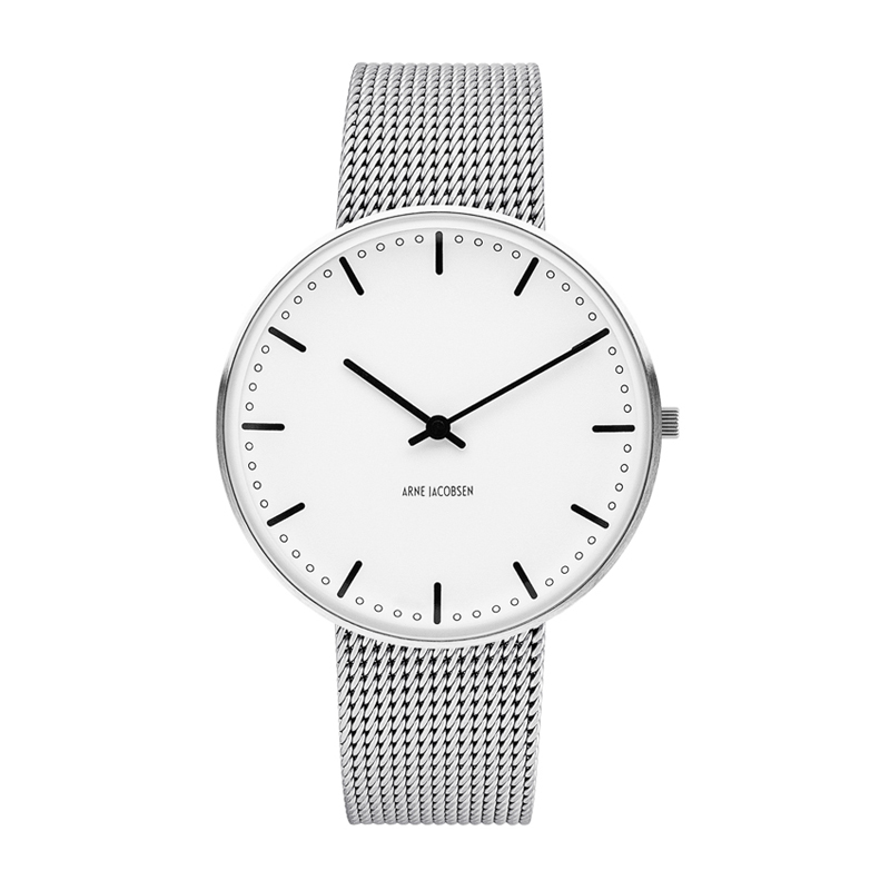 Image of   Arne Jacobsen Ø 40 mm City Hall Watch armbåndsur med meshlænke