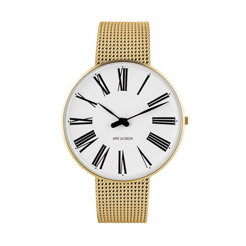 Image of   Arne Jacobsen Roman Watch Unisexur, Forgyldt ø 40mm med mesh lænke