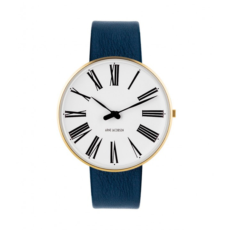Image of   Arne Jacobsen Roman Watch Ø40mm unisexur, forgyldt med blå rem