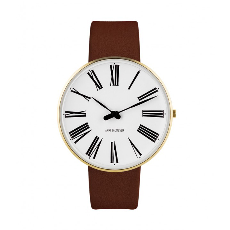 Image of   Arne Jacobsen Roman Watch Ø40mm unisexur, forgyldt med brun rem