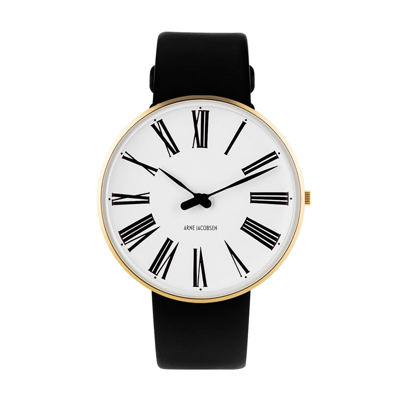 Image of   Arne Jacobsen Roman Watch Ø40mm unisexur, guldfarvet med sort rem