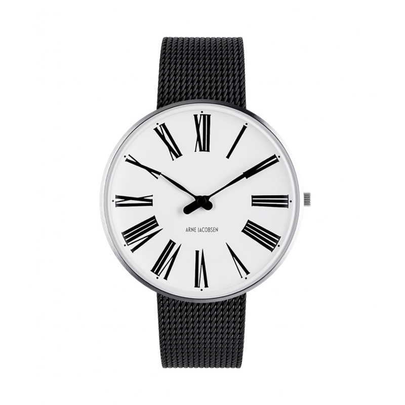 Image of   Arne Jacobsen Ø40 Roman Watch Unisexur med sort mesh lænke
