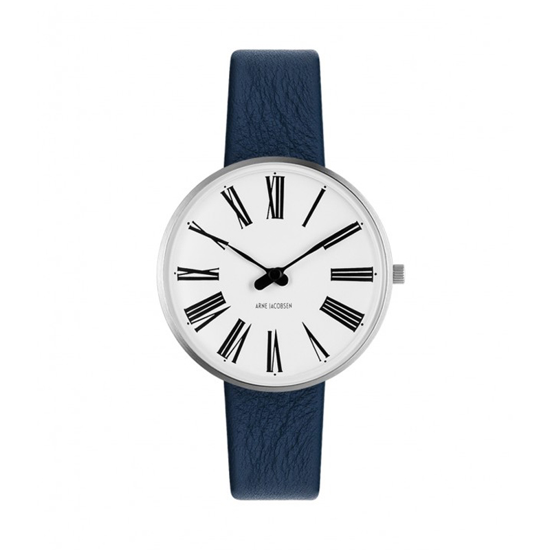 Image of   Arne Jacobsen Roman Watch armbåndsur, ø34 mm med blå rem