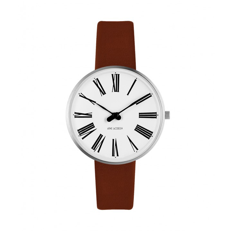Image of   Arne Jacobsen Roman Watch armbåndsur, ø34 mm med brun rem