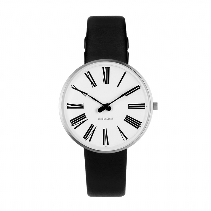 Image of   Arne Jacobsen Ø34 mm Roman Watch armbåndsur med sort rem