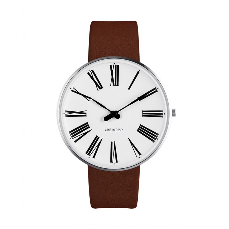 Image of   Arne Jacobsen Roman Watch Ø40mm unisexur, med brun rem