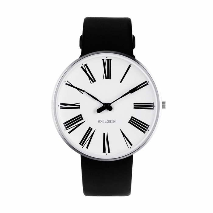 Image of   Arne Jacobsen Ø40 Roman Watch unisexur med sort rem