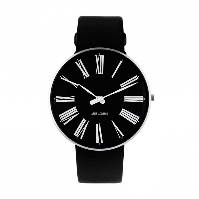 Image of   Arne Jacobsen Roman Watch unisexur, ø40 mm med sort rem og sort skive