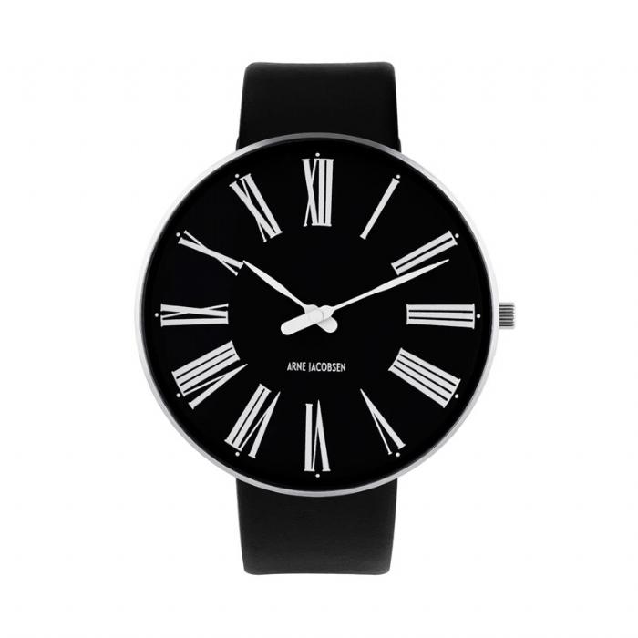 Arne Jacobsen Roman Watch Ø46mm armbåndsur, med sort rem og sort skive