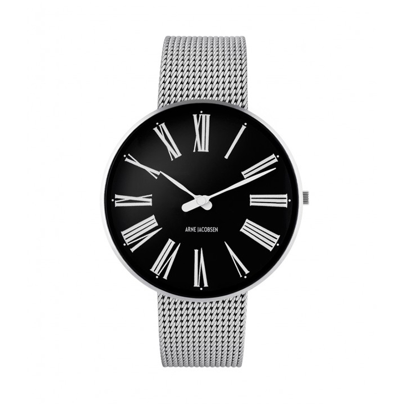 Image of   Arne Jacobsen Roman Watch Unisexur, stål med sort skive ø 40mm med mesh lænke
