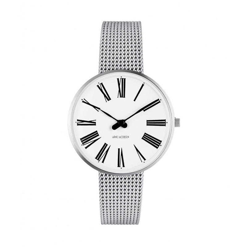 Image of   Arne Jacobsen Roman Watch armbåndsur, stål ø 34mm med mesh lænke