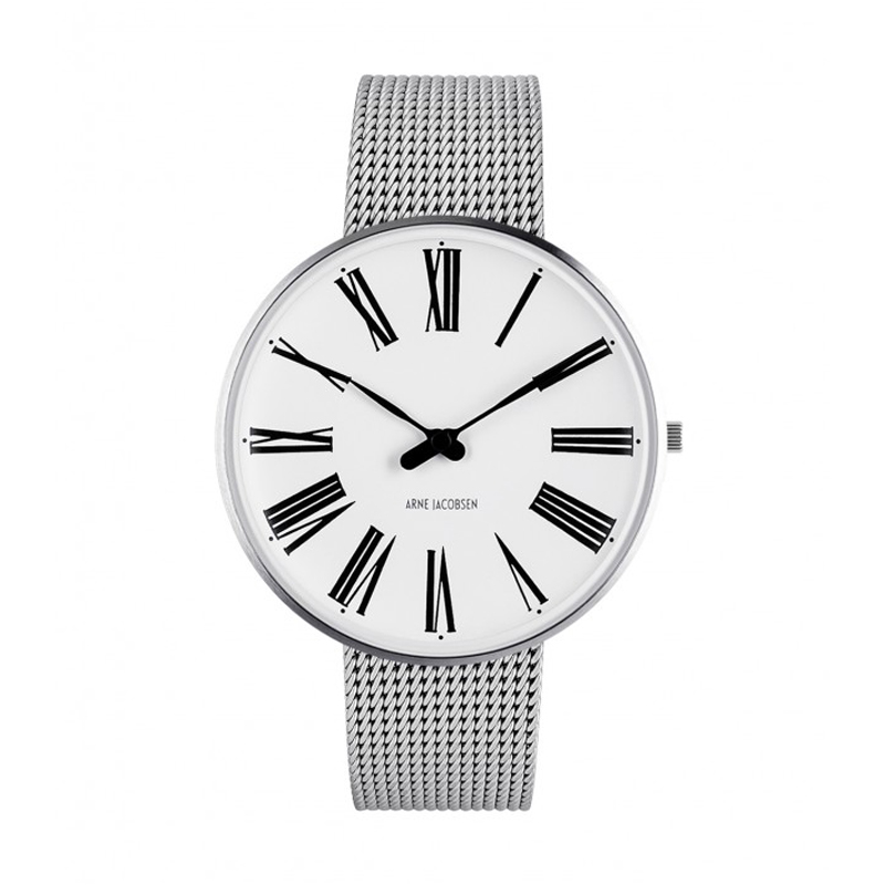 Image of   Arne Jacobsen Roman Watch Unisexur, stål ø 40mm med mesh lænke
