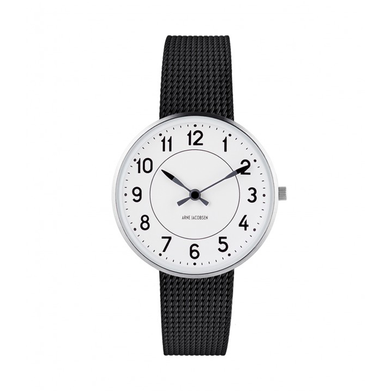 Image of   Arne Jacobsen Station Watch Unisexur, ø 34 mm med sort mesh lænke