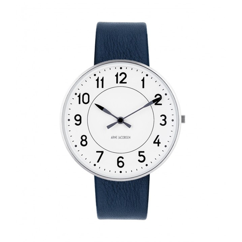 Image of   Arne Jacobsen Station Watch Ø40mm Unisexur, med mørkeblå rem