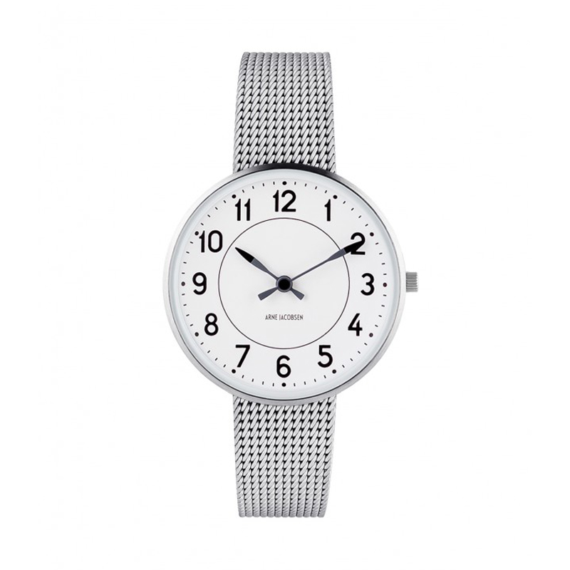 Image of   Arne Jacobsen Station Watch armbåndsur, ø34 mm med mesh lænke