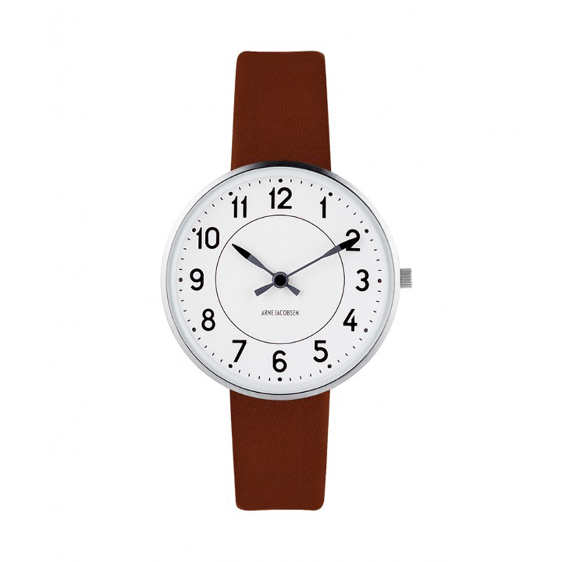 Image of   Arne Jacobsen Station Watch Unisexur, ø34mm med brun rem