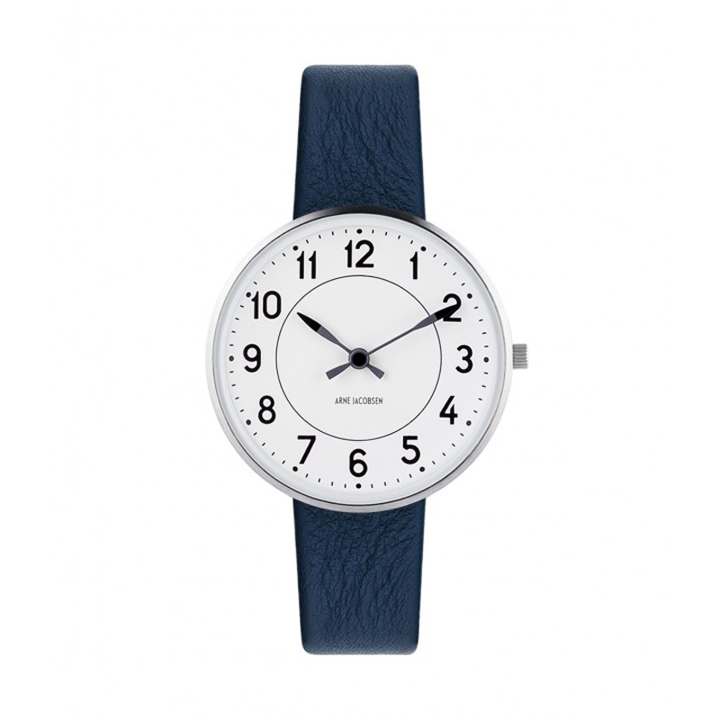 Image of   Arne Jacobsen Station Watch Unisexur, ø34mm med mørkeblå rem