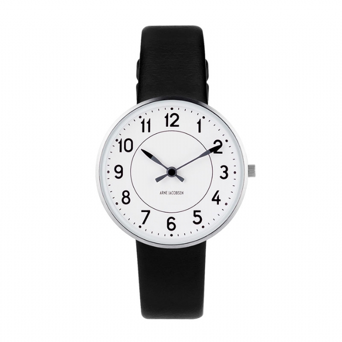 Image of   Arne Jacobsen Station Watch Unisexur, ø34mm med sort rem