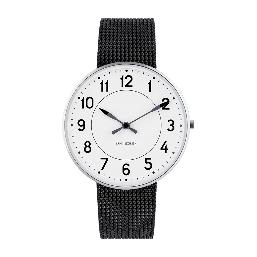 Image of   Arne Jacobsen Station Watch Unisexur, ø40mm med sort mesh lænke