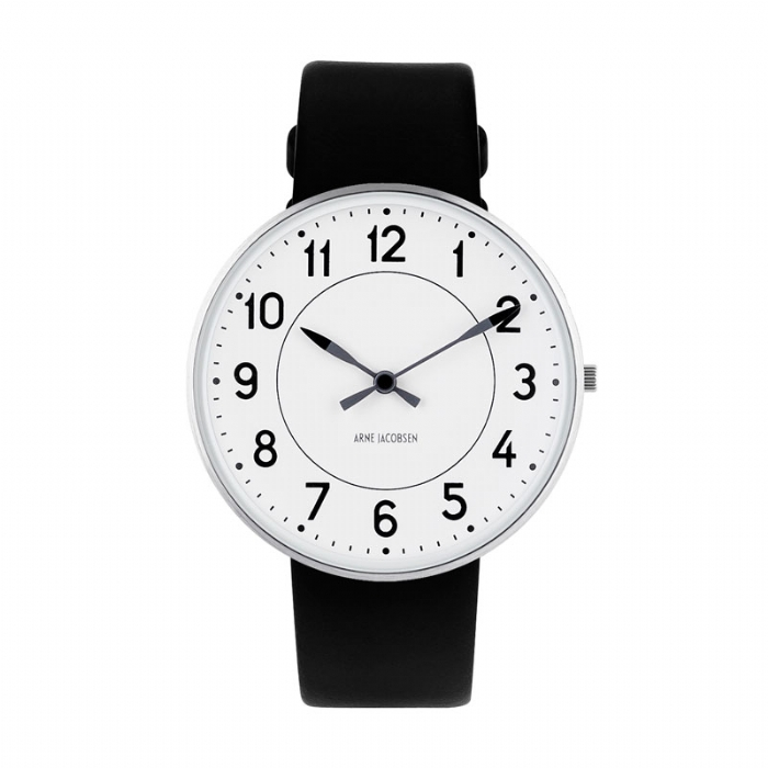 Image of   Arne Jacobsen Station Watch Unisexur, ø40mm med sort rem