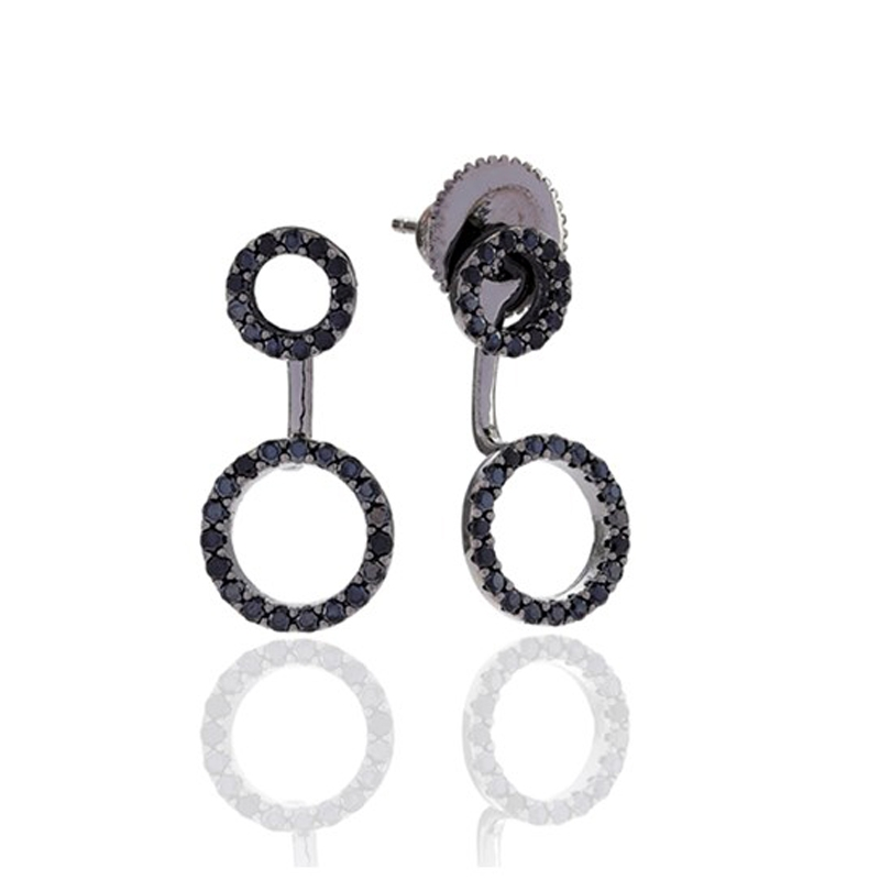 Sif Jakobs Biella Due ørestikker i sort sølv med sorte cz