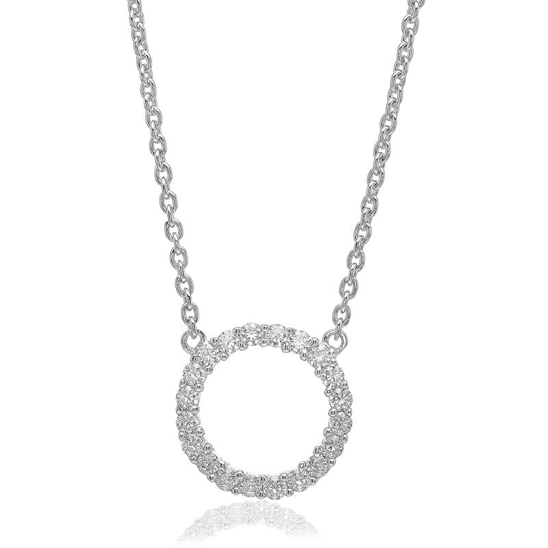 Image of   Sif Jakobs Biella Grande cirkel halssmykke i sølv med hvide cz