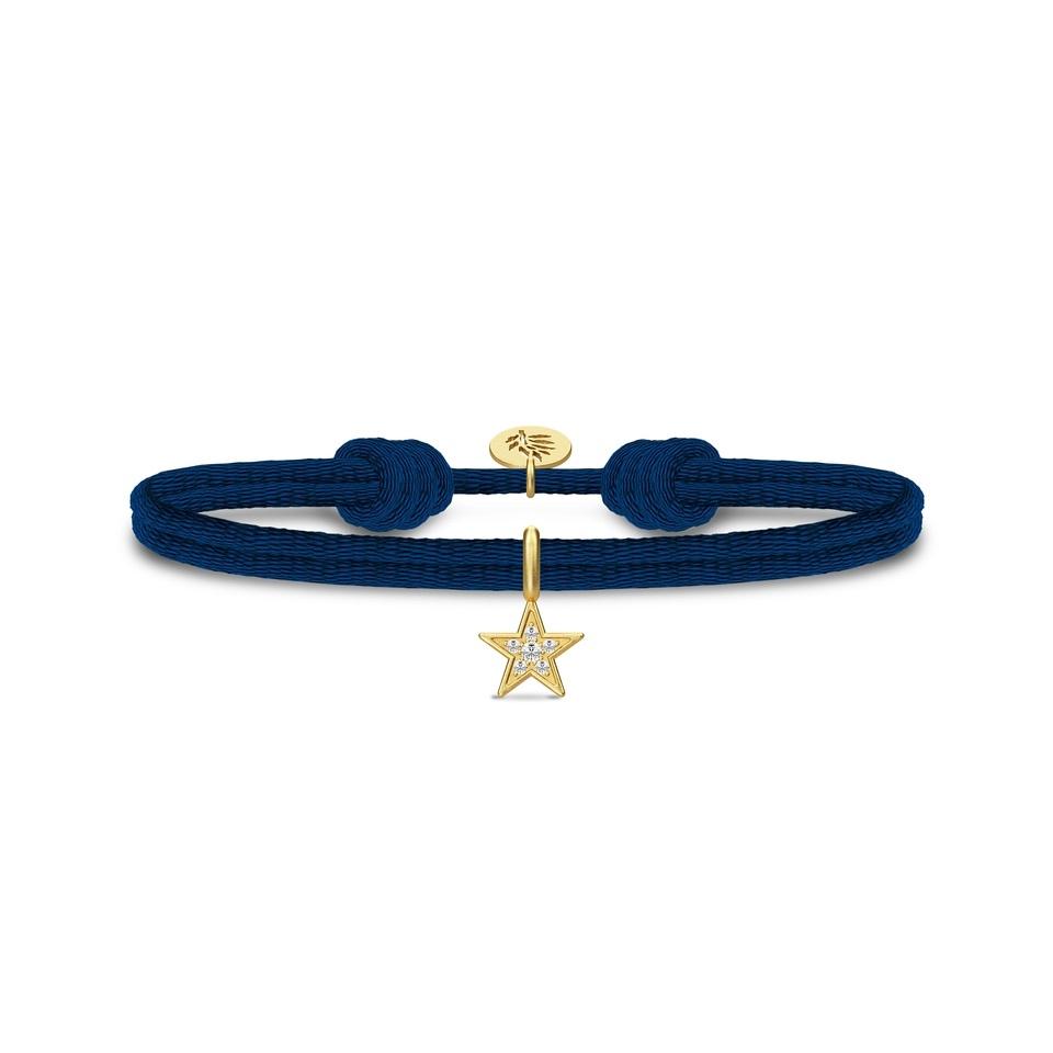 Julie Sandlau Stella blå satin armånd med forgyldt stjerne