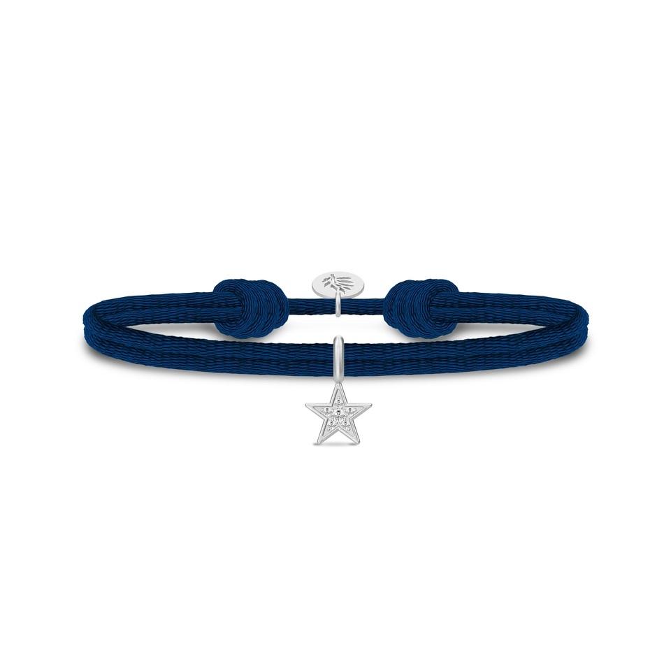 Julie Sandlau Stella blå satin armånd med sølv stjerne