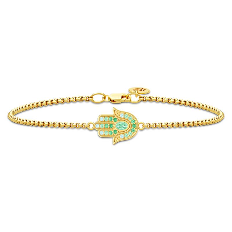 Image of   Julie Sandlau Clarity Hamsa hånd armbånd i forgyldt med Swarovski krystaller