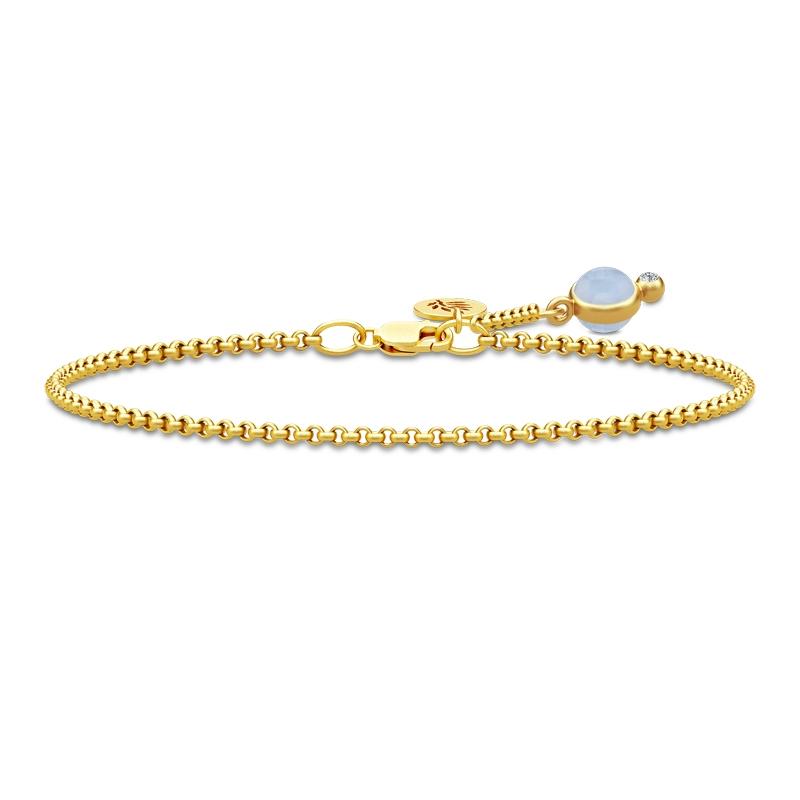 Julie Sandlau Prime armbånd i forgyldt med lyseblå krystal og cz