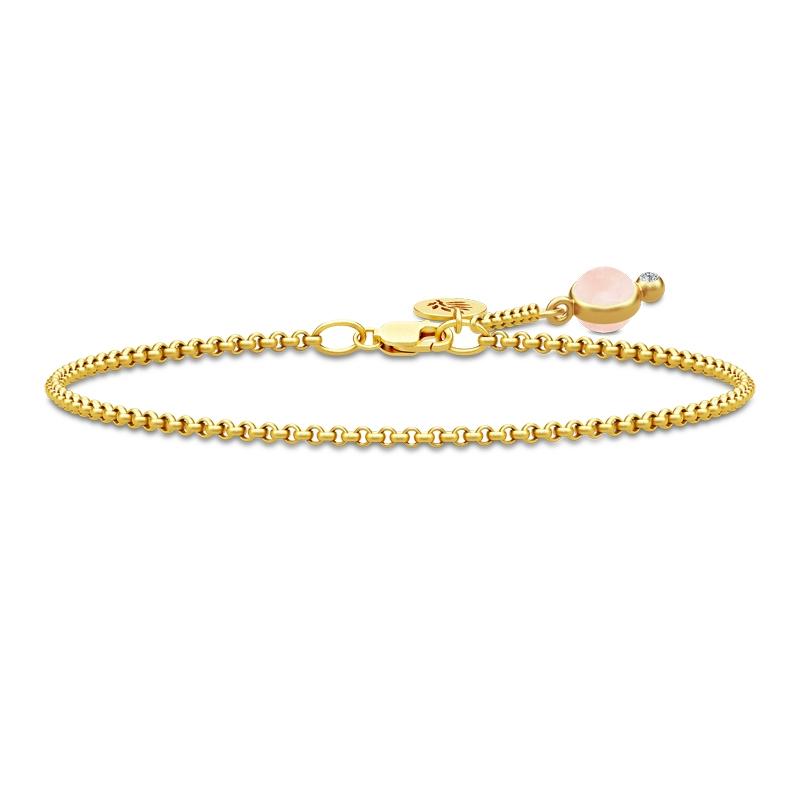 Julie Sandlau Prime armbånd i forgyldt med rosa krystal og cz