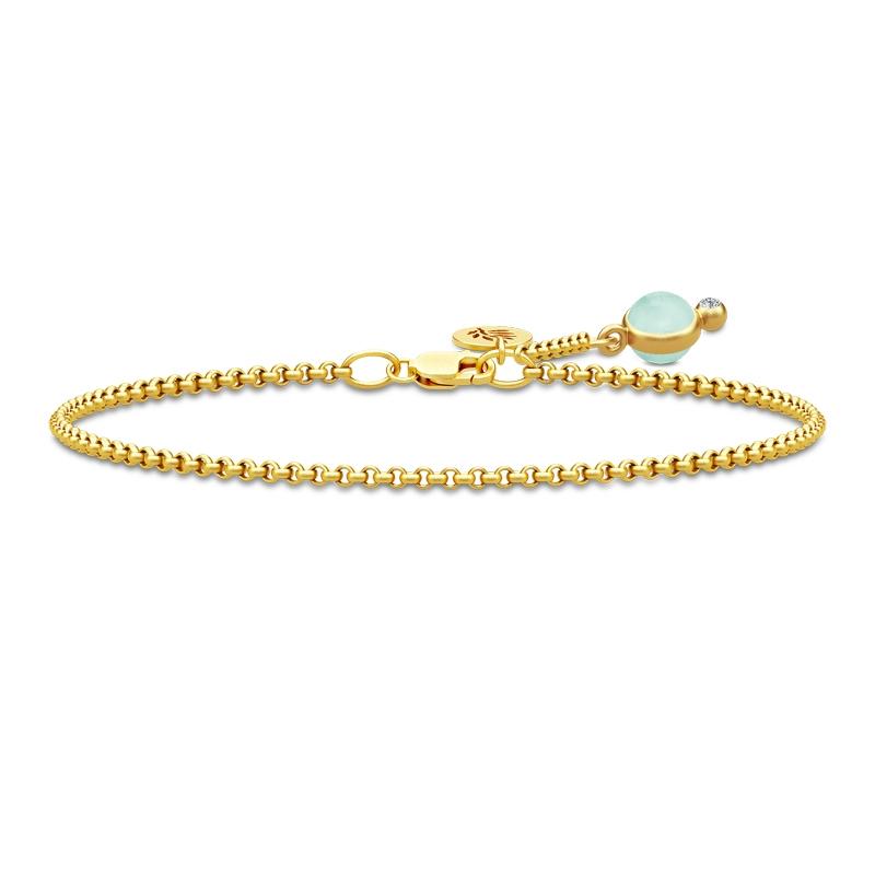 Julie Sandlau Prime armbånd i forgyldt med lysegrøn krystal og cz