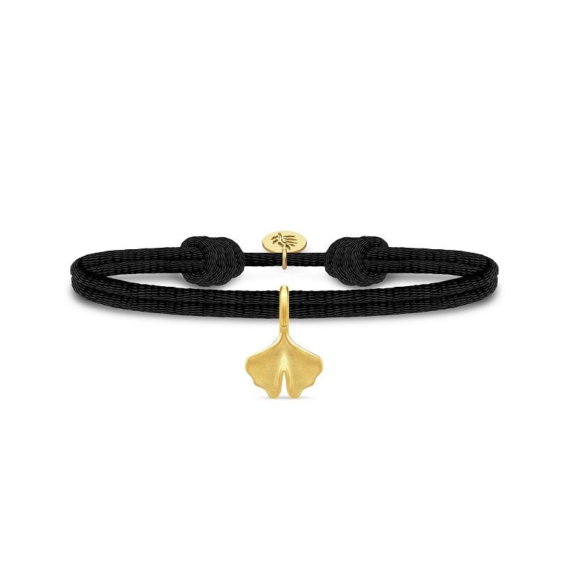 Julie Sandlau Ginko satin sort armbånd med forgyldt vedhæng