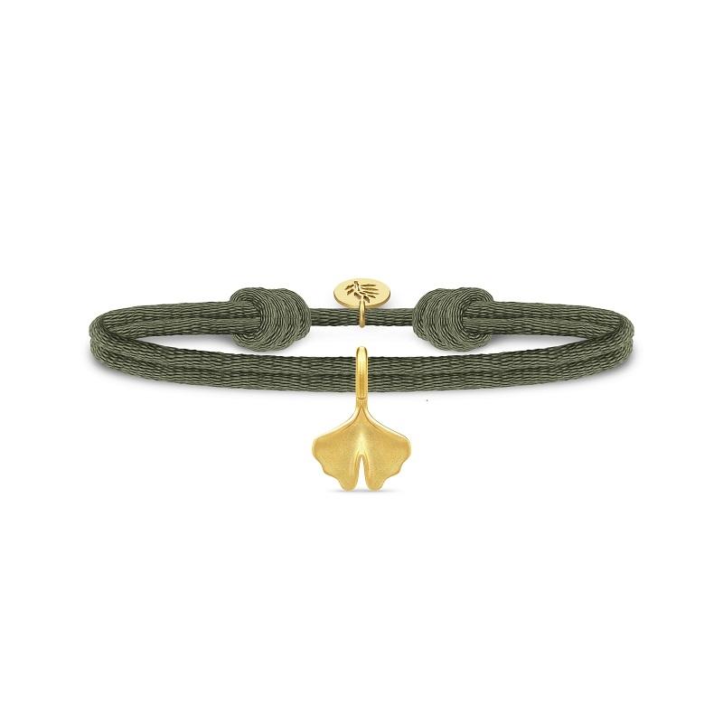Julie Sandlau Ginko satin grøn armbånd med forgyldt vedhæng