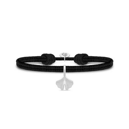 Julie Sandlau Ginko satin sort armbånd med sølv vedhæng