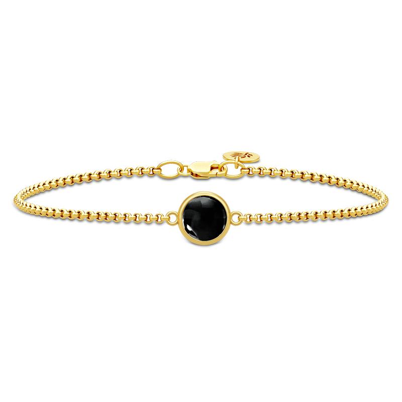 Image of   Julie Sandlau Primini armbånd i forgyldt med sort krystal