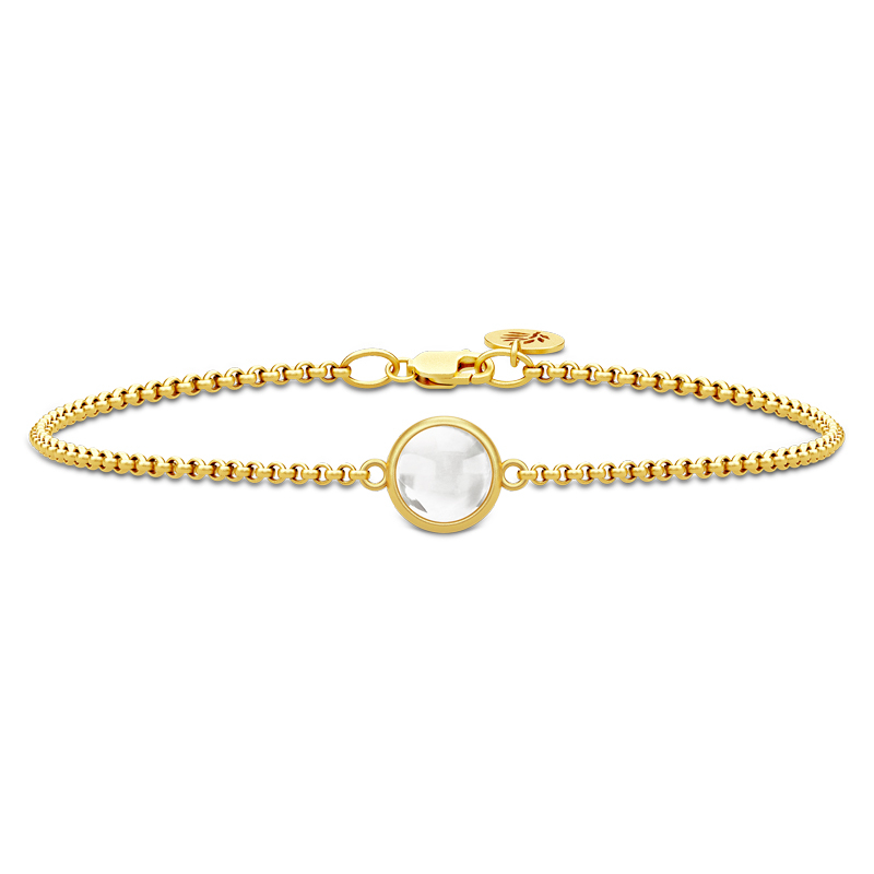 Julie Sandlau Primini armbånd i forgyldt med klar krystal
