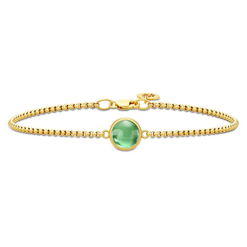 Image of   Julie Sandlau Primini armbånd i forgyldt med grøn krystal