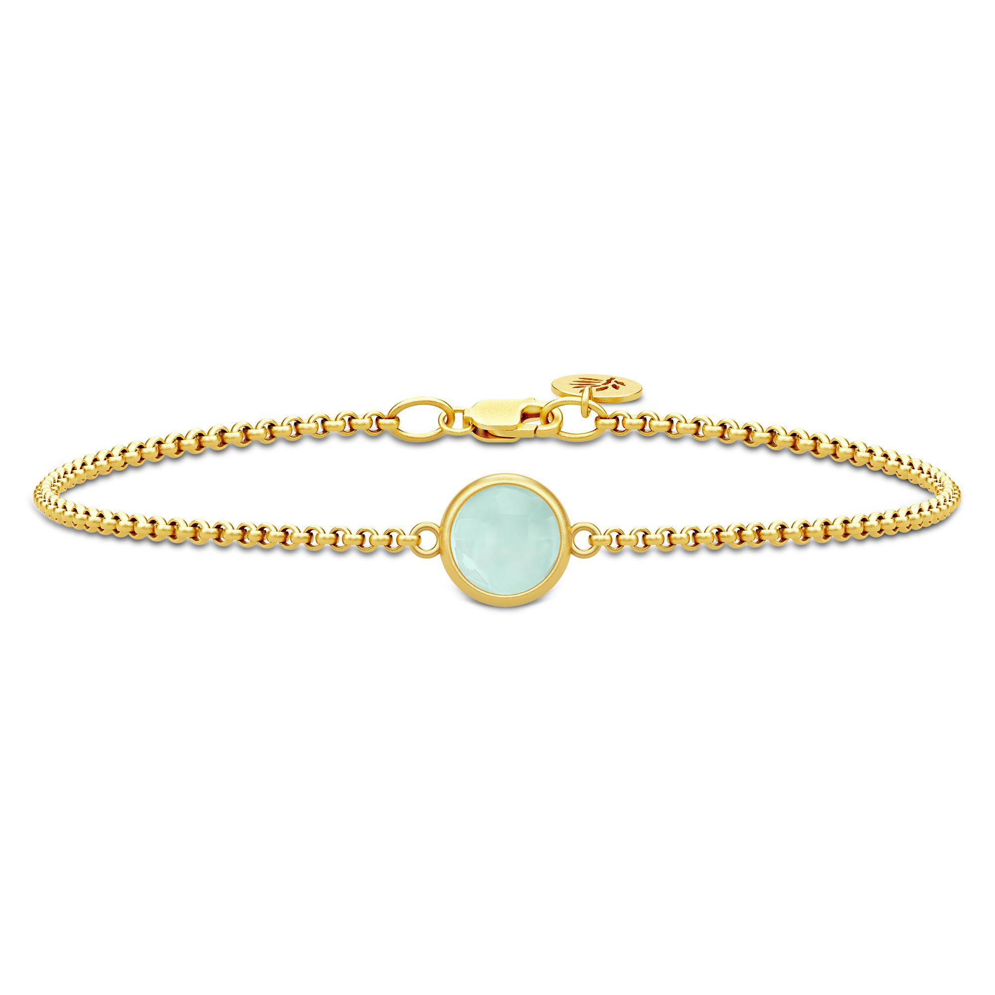 Julie Sandlau Primini armbånd i forgyldt med lysegrøn krystal