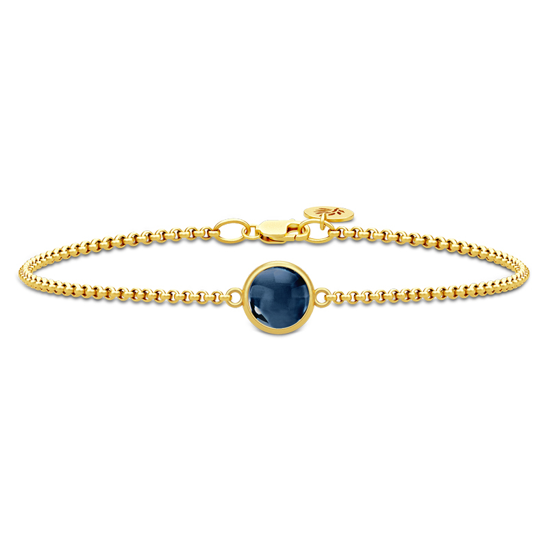 Julie Sandlau Primini armbånd i forgyldt med safirblå krystal