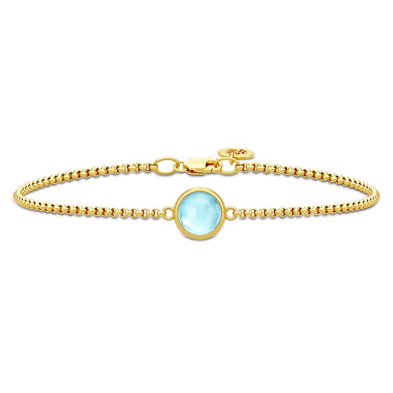 Julie Sandlau Primini armbånd i forgyldt med lyseblå krystal