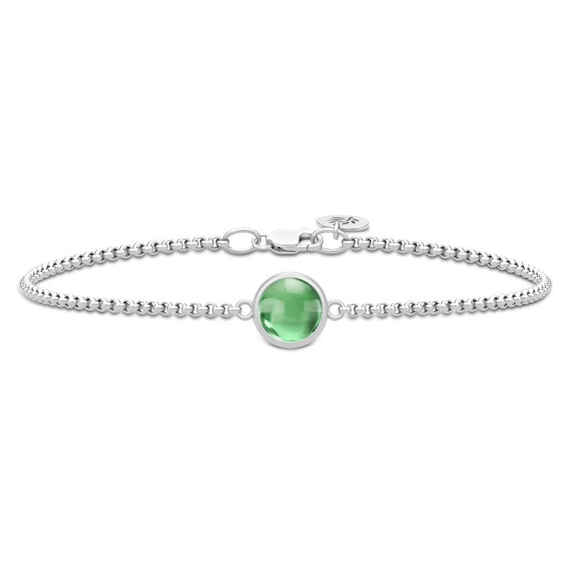 Julie Sandlau Primini armbånd i sølv med grøn krystal