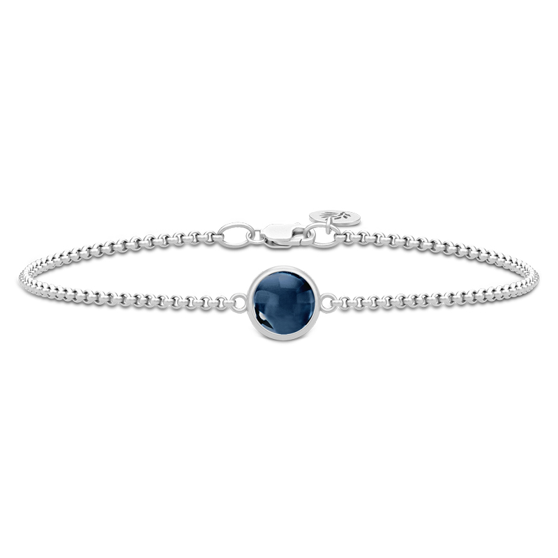 Julie Sandlau Primini armbånd i sølv med safir blå krystal