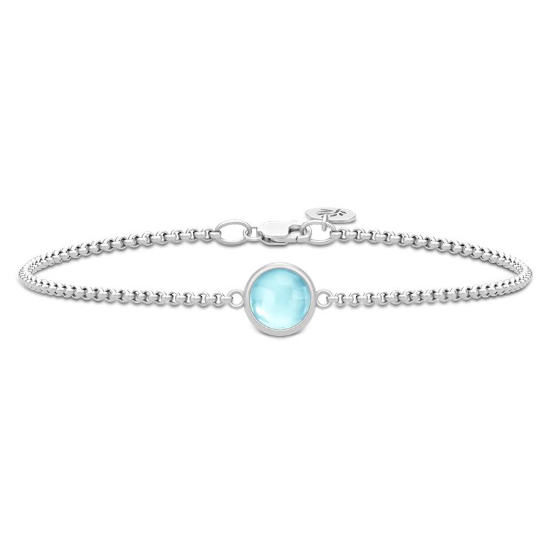 Image of   Julie Sandlau Primini armbånd i sølv med lyseblå krystal