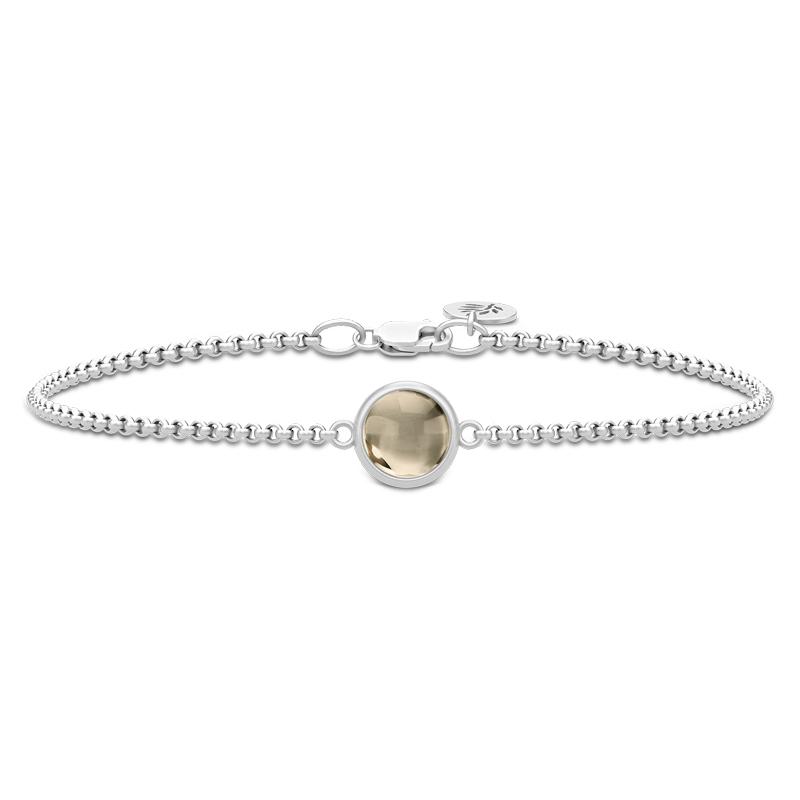 Image of   Julie Sandlau Primini armbånd i sølv med røgfarvet krystal