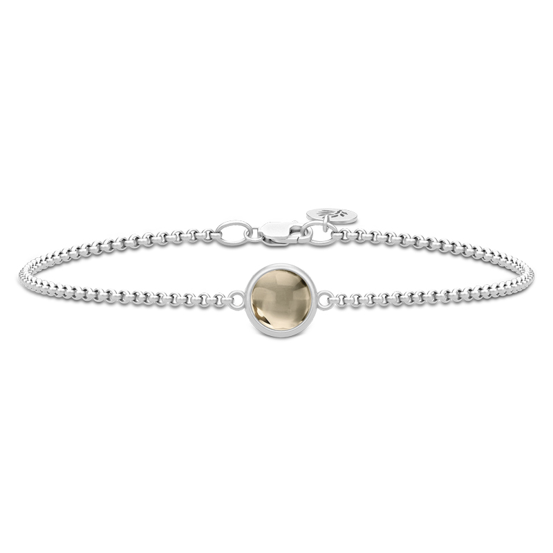 Julie Sandlau Primini armbånd i sølv med røgfarvet krystal
